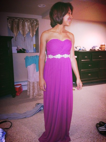 dress long prom dresses strapless dress prom dress cute dress purple dress style simple dress pretty
