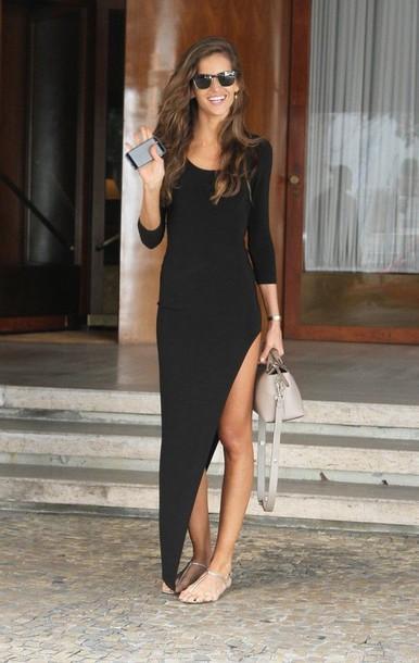 dress clothes summer black dress formal black maxi slit black long dresses maxi dress slit dress black maxi slit