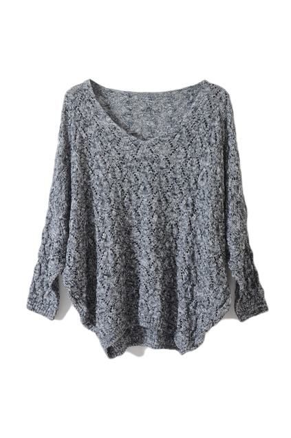 Wing sleeve grey jumper, the latest street fashion