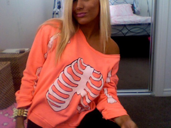 coral skeleton long sleeve sweater