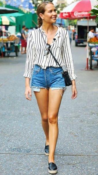 t-shirt stripes stipes blouse shoes