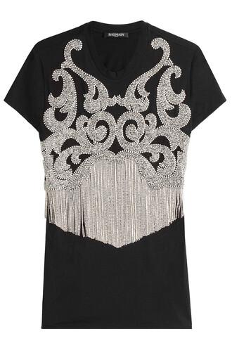 t-shirt shirt cotton t-shirt embellished cotton black top