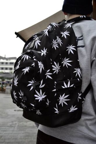 bag backpack school bag marijuana pot weed b&w black and white leef need this bagpack black white cute marijuana symbol colorful brand mens accessories huf back to school mens backpack leaves print drugs tumblr bag black mery jane holland grunge