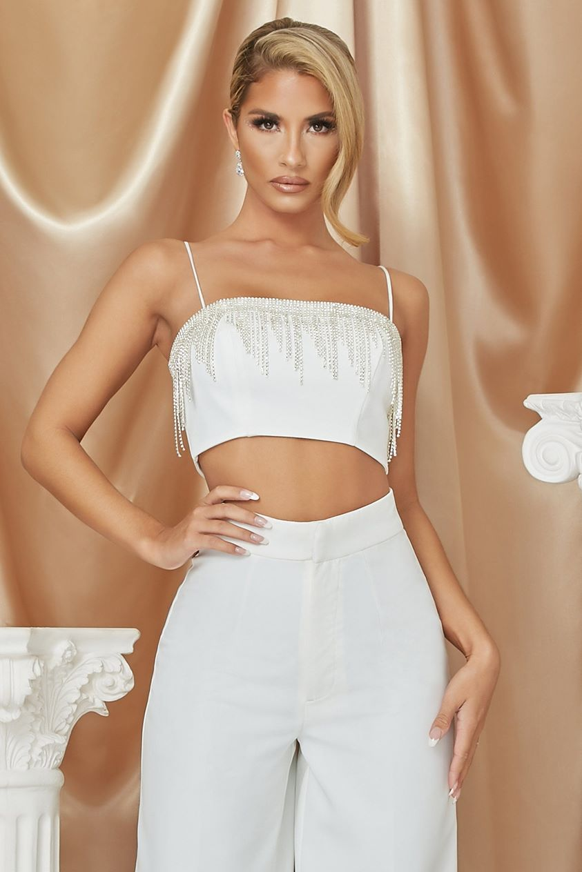 Priscilla Diamante Fringe Crop Top - White