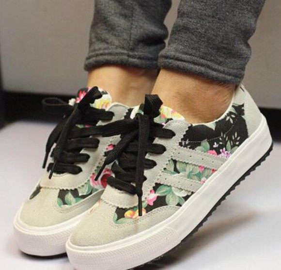 floral black shoes sneakers grey