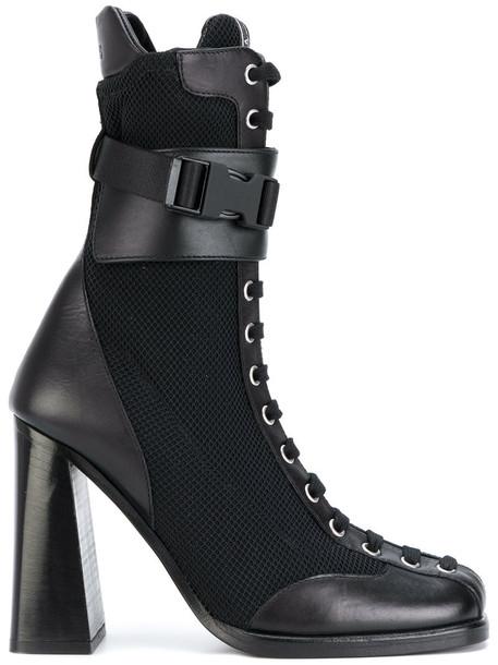 Versus women lace leather black shoes