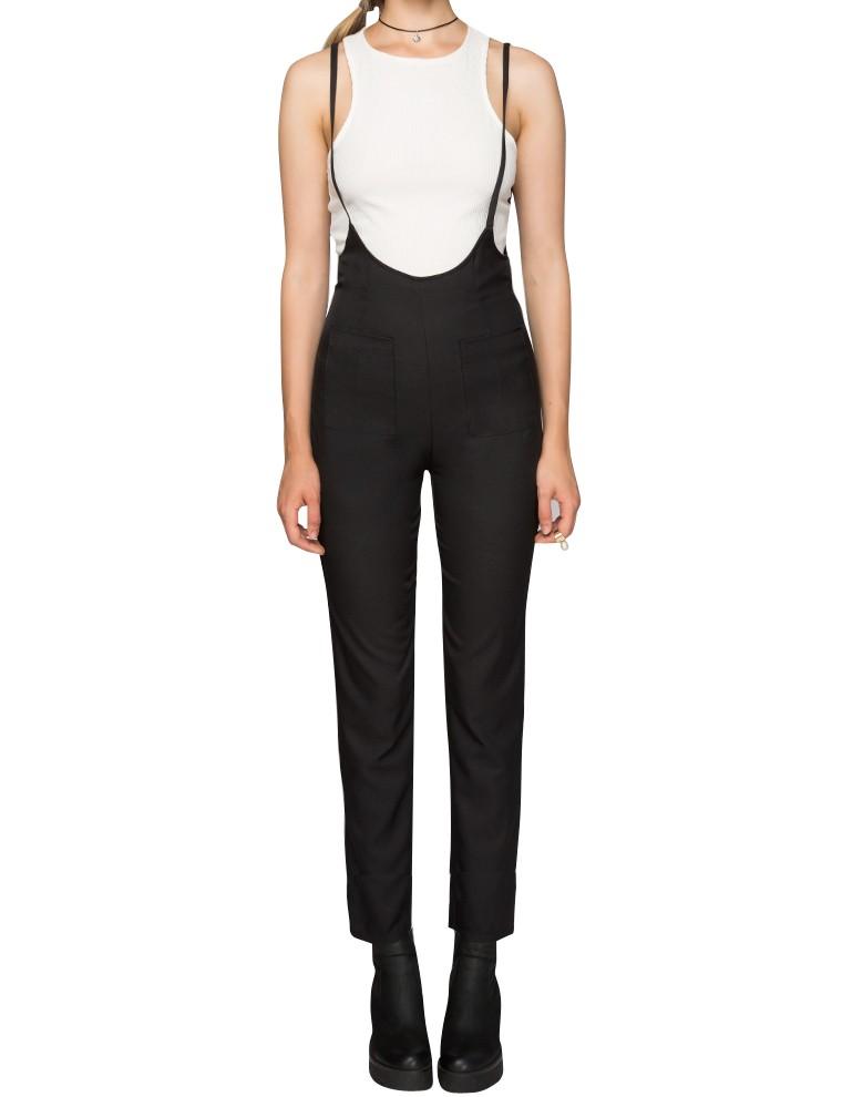 Black skinny suspender pants