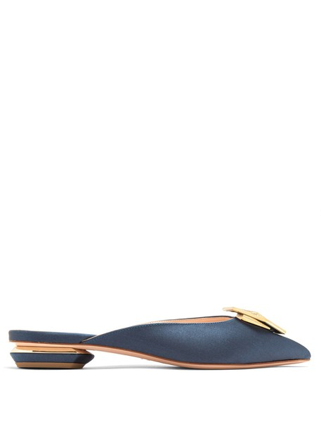 Nicholas Kirkwood backless embellished loafers satin dark green shoes