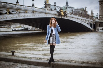 miss pandora blogger blue coat snake print thigh high boots coat shoes skirt