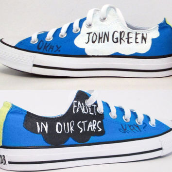 The Fault In Our Stars Handpainted Converse Shoes with Quotes on Wanelo