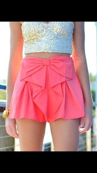 shorts pink bow shorts cute