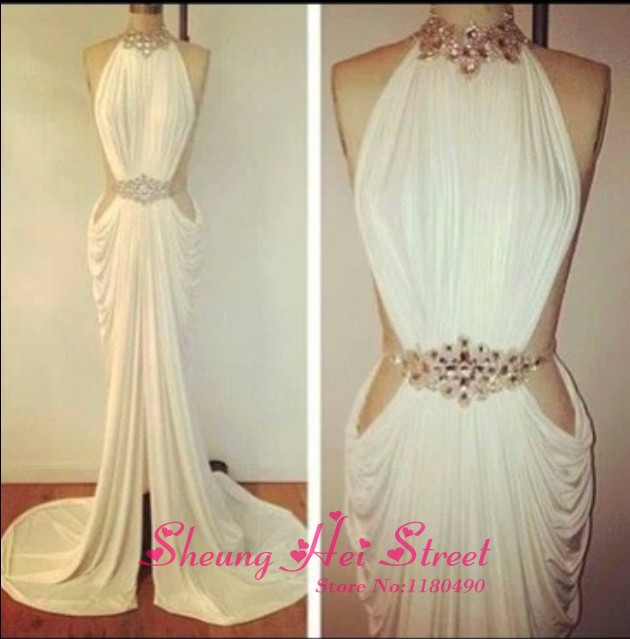 Aliexpress.com : Buy Sexy High Neck Sleeveless Crystal Beading Pleated Slit Side Mermaid Long Prom Evening Dress 2014 New Arrival from Reliable beads copper suppliers on Sheung Hei Street