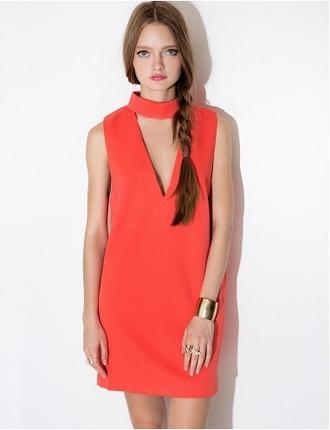 dress coral coral dress cute summer dress spring dress party dress sleeveless v neck pixie market pixie market girl shift dress