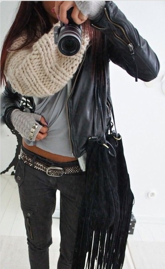 jacket leather grey black gloves bag scarf scarve jeans black jeans leather jacket belt fringed bag