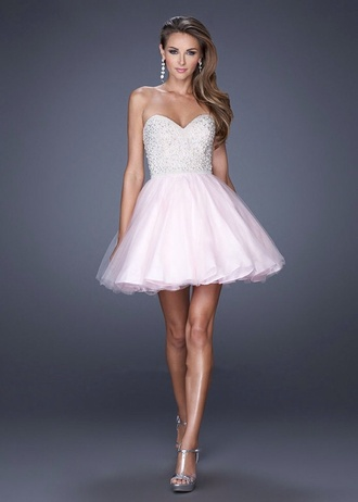 dress light pink short prom sparkly grad