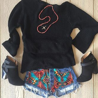 cardigan divergence clothing fringes aztec aztec shorts floppy hat black floppy hat fall outfits boho chic hipster kylie jenner these shorts leather jacket black leather jacket fringed jacket aztec leggings