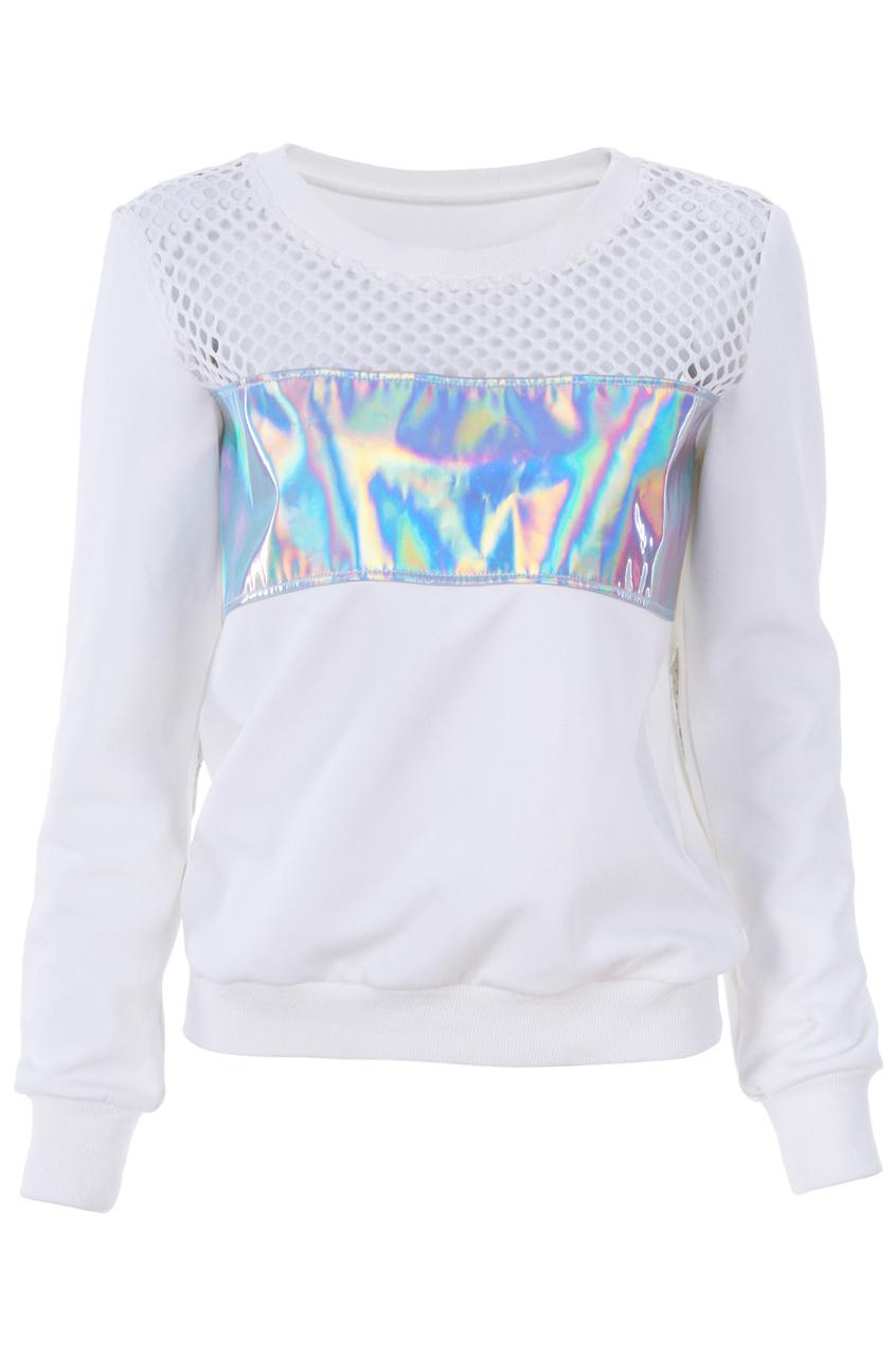 e46e926245b ROMWE   Holographic Print Hollow Sweatshirt, The Latest Street Fashion