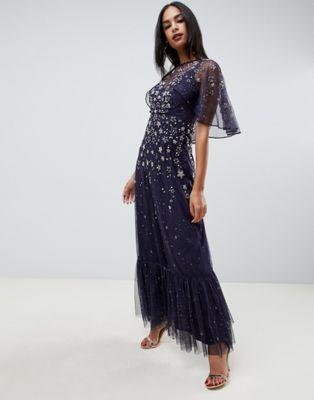 ASOS DESIGN maxi dress with flutter sleeve in star embellishment at asos.com