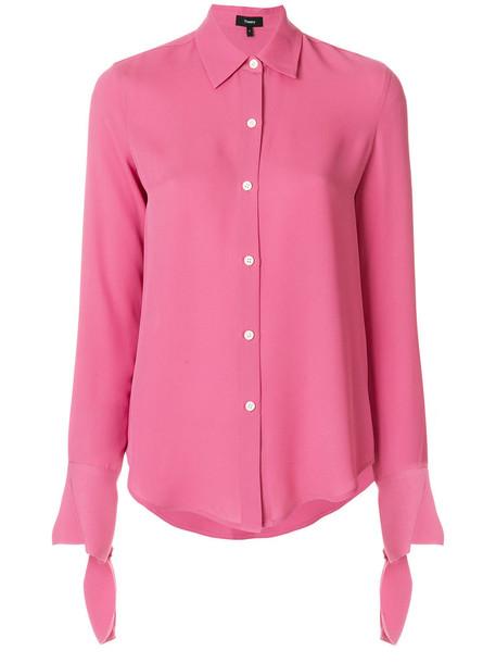 theory shirt women classic silk purple pink top