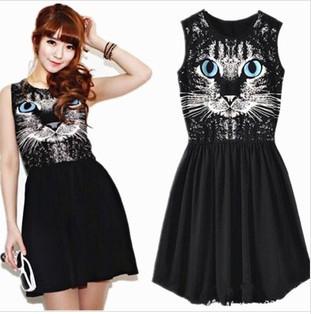 The cat face charming dress european & us style cotton dress ladies' summer dress