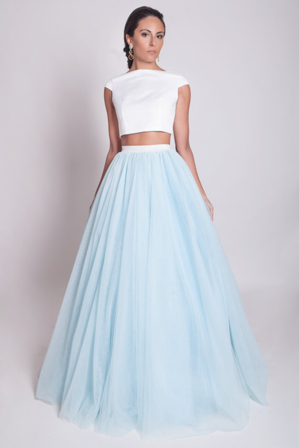2016 White And Sky Blue Tutu Skirt Evening Dresses Long Formal ...