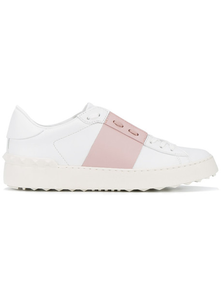 Valentino open women sneakers leather white pink shoes