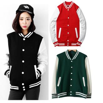jacket college baseball jacket red korean fashion korean style black dope swag red jacket it girl shop
