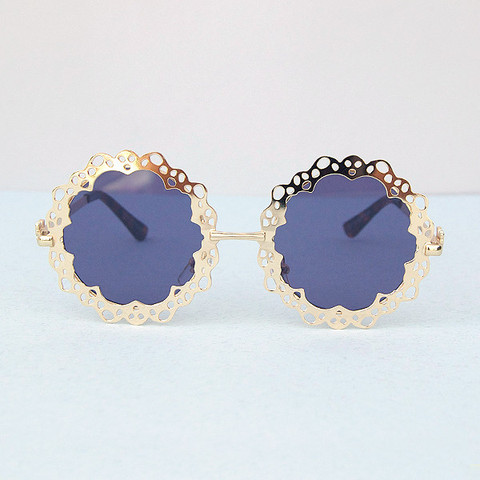 Gold cut out round sunglasses