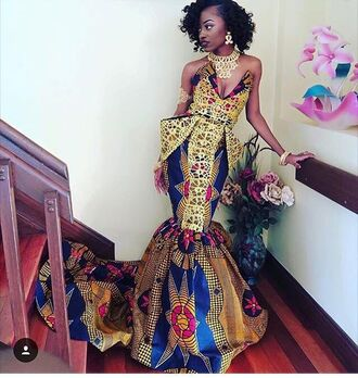 dress prom dress train dress multicolor african print african american