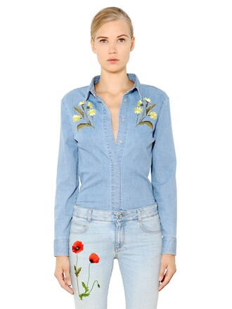 shirt denim shirt denim embroidered floral cotton light blue light blue top