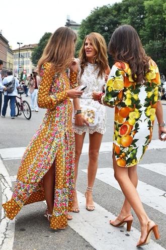 dress runway yellow floral boho bohemian summer long dress slit dress long sleeves pattern patterened dress tribal pattern