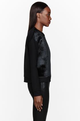 Neil barrett black neoprene & velvet baby sweatshirt for women