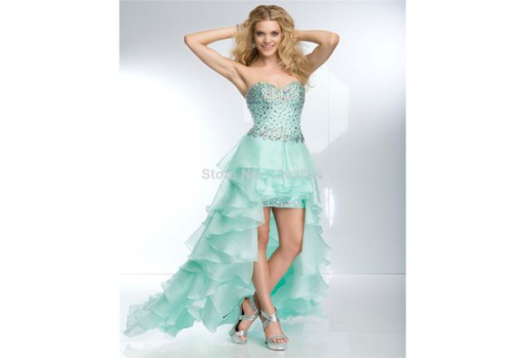 mint green dress sexy dress prom dresses 2014 high-low prom dresses beaded homecoming dress sweetheart dresses pink dress