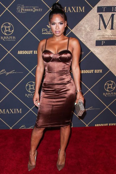 dress bodycon dress brown dress brown pumps christina milian bustier dress