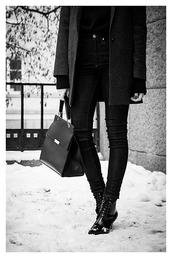 chaloth,blogger,all black everything,tweed black coat,tweed black blazer,ellen tracy,jacket,sweater,jeans,bag,shoes