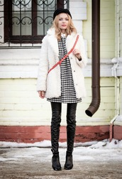 dress,leather pants,houndstooth,fuzzy coat,fisherman cap,white fluffy coat,mini dress,printed dress,crossbody bag,white coat,winter outfits,winter coat,winter look,black leather pants,black pants,boots,ankle boots,cold weather outfit