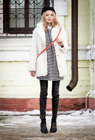 tini tani blogger dress leather pants houndstooth fuzzy coat fisherman cap