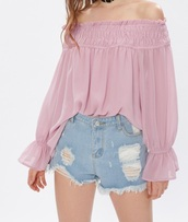 blouse,girly,pink,off the shoulder,off the shoulder top,long sleeves