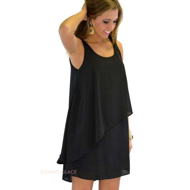 dress little black dress layered dress black sleeveless dress tiered crepe dress shift dress dressy