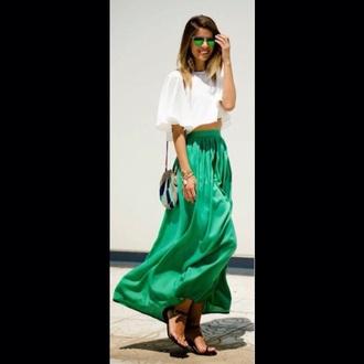 skirt green maxi maxi skirt summer