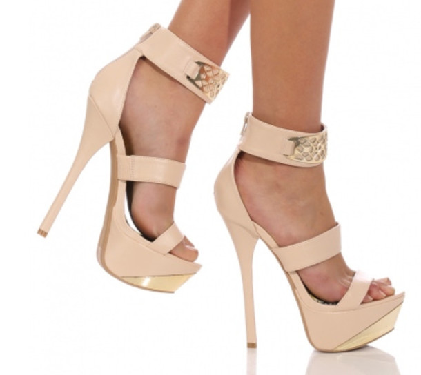Shoes: nude heels, nude high heels, nude and gold heels, strappy ...