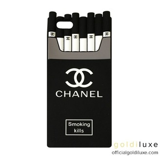 phone cover chanel cc smokingkills chanelsmoki iphone iphone cover gorgeous fashion designer design cigarette goldiluxe love iphone case iphone 5 case iphone 6 case smoking kills black white summer pretty cute