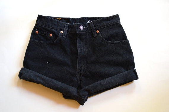Vintage cuffed high waisted black Levi's denim shorts on Wanelo