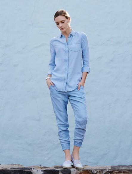 denim denim shirt blogger jewels top my life in pink denim pants