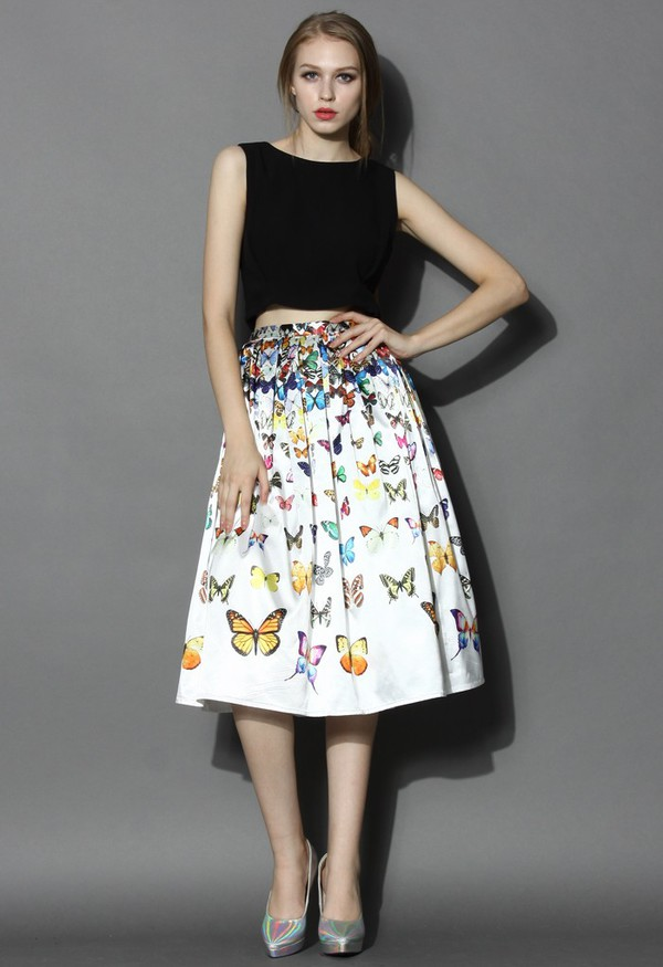 chicwish pleated skirt butterfly skirt