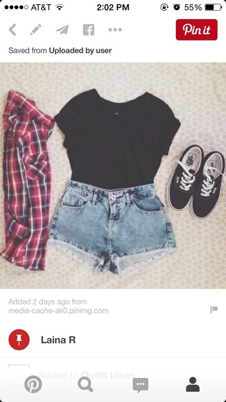 top flannel red flannel blue flannel black flannel red and blue flannel black crop top black top shorts jacket