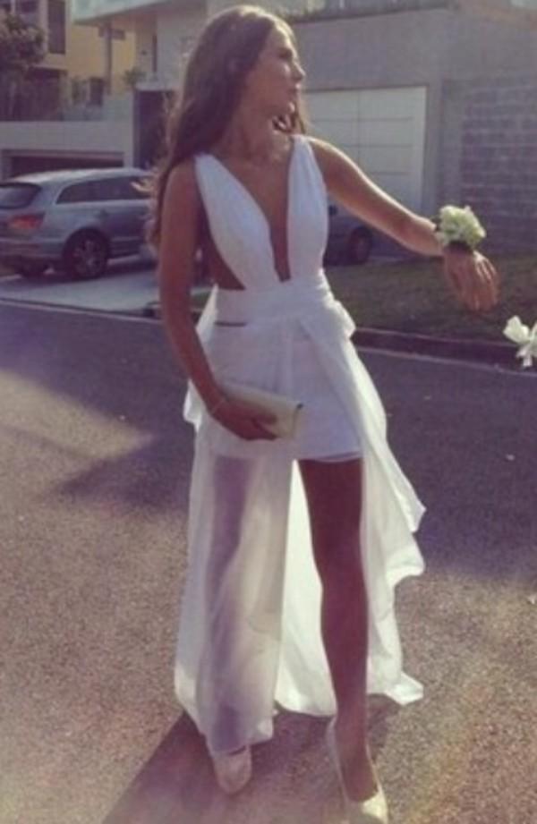 White Longer Lengths Dress White Plunge Neckline Double