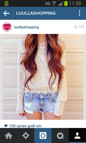 tumblr white shirt cute holes knit