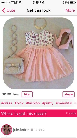 dress floral crop tops pink skirt cute dress skater skirt bustier and skirt