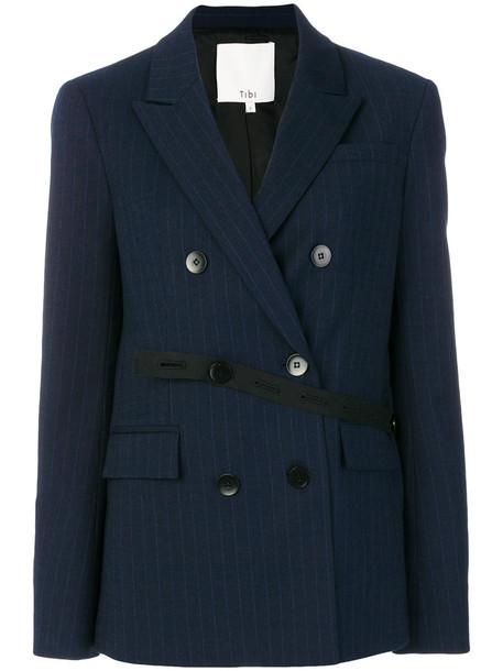 Tibi blazer women spandex blue wool jacket